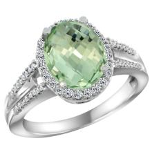 Natural 2.72 ctw green-amethyst & Diamond Engagement Ring 14K White Gold - SC-CW402174-REF#54Y4X