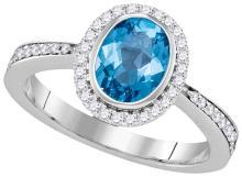 Genuine 1.54 CTW Blue Topaz & Diamond Ladies Ring 14KT White Gold - GD105020-REF#88M2F
