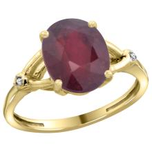Natural 3.65 ctw Ruby & Diamond Engagement Ring 10K Yellow Gold - SC-CY914112-REF#29Z7Y