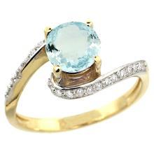 Natural 0.99 ctw aquamarine & Diamond Engagement Ring 14K Yellow Gold - SC-D312723Y12-REF#54X9A