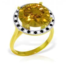 Genuine 6.2 ctw Citrine, White & Black Diamond Ring Jewelry 14KT Yellow Gold - GG-5213-REF#91N8R