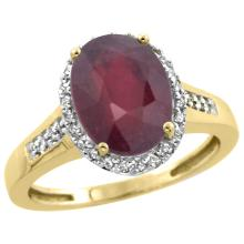 Natural 2.49 ctw Ruby & Diamond Engagement Ring 10K Yellow Gold - SC-CY914109-REF#37H3W
