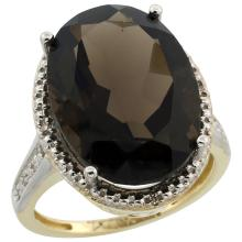 Natural 13.6 ctw Smoky-topaz & Diamond Engagement Ring 14K Yellow Gold - SC-CY407108-REF#75Z6Y