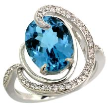 Natural 6.53 ctw london-blue-topaz & Diamond Engagement Ring 14K White Gold - SC-R289231W05-REF#75R3Z