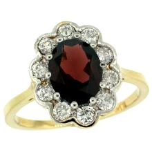 Natural 2.34 ctw Garnet & Diamond Engagement Ring 14K Yellow Gold - SC-C319661Y10-REF#82F2N