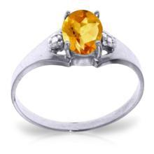 Genuine 0.76 ctw Citrine & Diamond Ring Jewelry 14KT White Gold - GG-4251-REF#20P8H