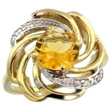 Natural 2.25 ctw citrine & Diamond Engagement Ring 14K Yellow Gold - SC-R297241Y09-REF#57N8G