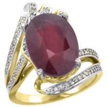 Natural 6.28 ctw ruby & Diamond Engagement Ring 14K Yellow Gold - SC-R309911Y14-REF#100X3A