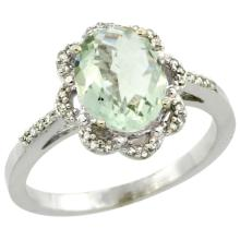 Natural 1.85 ctw Green-amethyst & Diamond Engagement Ring 10K White Gold - SC-CW902105-REF#29H3W