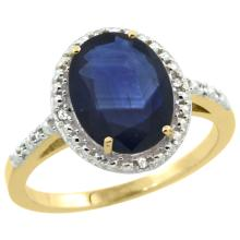 Natural 2.42 ctw Blue-sapphire & Diamond Engagement Ring 10K Yellow Gold - SC-CY916111-REF#85M8H