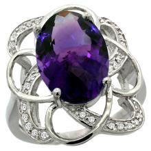 Natural 5.59 ctw amethyst & Diamond Engagement Ring 14K White Gold - SC-R297191W01-REF#59W6K