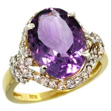 Natural 5.89 ctw amethyst & Diamond Engagement Ring 14K Yellow Gold - SC-R275011Y01-REF#88H8W