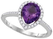 Genuine 1.50 CTW Amethyst & Diamond Ladies Ring 14KT White Gold - GD104987-REF#73F7N