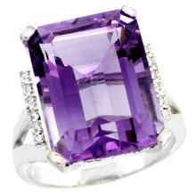 Natural 12.13 ctw Amethyst & Diamond Engagement Ring 14K White Gold - SC-CW401143-REF#71W2K