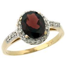 Natural 1.3 ctw Garnet & Diamond Engagement Ring 10K Yellow Gold - SC-CY910137-REF#26Y3X