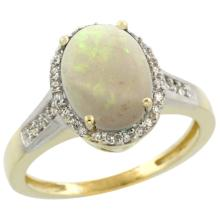 Natural 2.49 ctw Opal & Diamond Engagement Ring 14K Yellow Gold - SC-CY420109-REF#41K7R