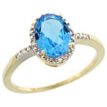 Natural 1.2 ctw Swiss-blue-topaz & Diamond Engagement Ring 14K Yellow Gold - SC-CY404113-REF#23M2H