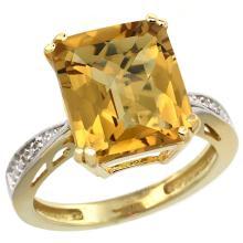 Natural 5.42 ctw Whisky-quartz & Diamond Engagement Ring 14K Yellow Gold - SC-CY426149-REF#60R3Z