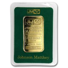 One pc. 1 oz .9999 Fine Gold Bar - Johnson Matthey In Assay