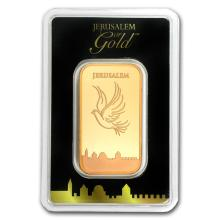 One pc. 1 oz .9999 Fine Gold Bar - Holy Land Mint Dove of Peace In Assay