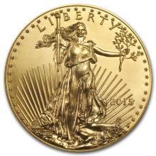 One pc. 2015 1 oz .9167 Fine Gold American Eagle BU
