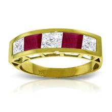 Genuine 2.35 ctw White Topaz & Ruby Ring Jewelry 14KT Yellow Gold - GG#3539 - REF#56X7M