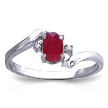 Genuine 0.46 ctw Ruby & Diamond Ring Jewelry 14KT White Gold - GG#3029 - REF#29A3K