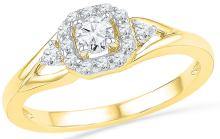 Genuine 0.33 CTW Diamond Ladies Ring 10KT Yellow Gold - GD100371-REF#37S6V