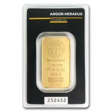 One pc. 1 oz .9999 Fine Gold Bar - Argor-Heraeus in Assay