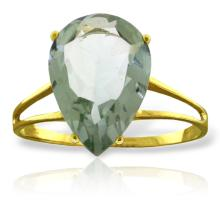 Genuine 5 ctw Green Amethyst Ring Jewelry 14KT Yellow Gold - GG#2602 - REF#34H3X