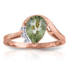 Genuine 1.52 ctw Green Amethyst & Diamond Ring Jewelry 14KT Rose Gold - GG#2983 - REF#51H4X