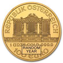 One pc. Austria 1 oz .9999 Fine Gold Philharmonic BU Random Year