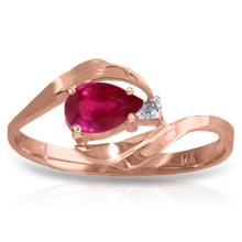 Genuine 0.51 ctw Ruby & Diamond Ring Jewelry 14KT Rose Gold - GG#1328 - REF#28N3R