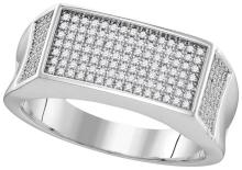 Genuine 0.33 CTW Diamond Men's Ring 10KT White Gold - GD109973-REF#57A5X