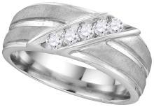 Genuine 0.25 CTW Diamond Men's Ring 10KT White Gold - GD110116-REF#36Y2Z