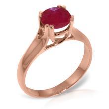Genuine 1.35 ctw Ruby Ring Jewelry 14KT Rose Gold - GG-3155-REF#61K2V