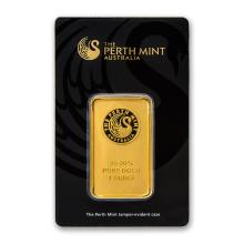 One pc. 1 oz .9999 Fine Gold Bar - Perth Mint In Assay
