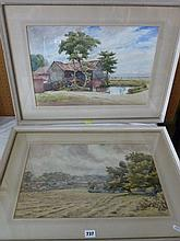 Two early 20th century watercolours, one showing an extensive country landscape