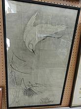 A 19th century oriental wood block print showing a diving crane, 68 x 40cm appro