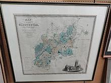 A 19th century map of the country of Gloucester by C & J Greenwood, published 18