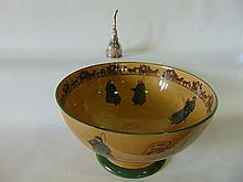 A substantial early 20th century Royal Doulton punch bowl with printed and infil
