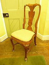 A good quality Queen Anne style walnut and burr walnut veneered single chair wit