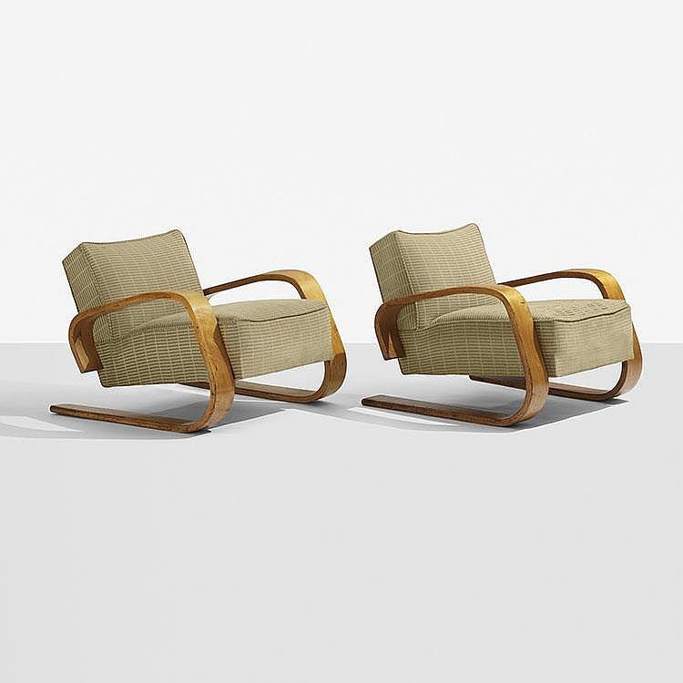 Alvar Aalto Tank lounge chairs model 37/400, pair