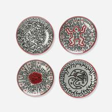 Keith Haring porcelain plates, set of four