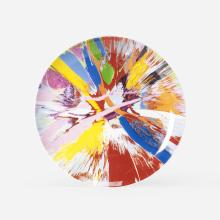 Damien Hirst Beautiful, Amore, Gasp, Eyes Going Into the Top of the Head and Fluttering Painting plate