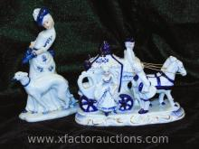 Victorian Horse Carriage and Lady Figurines