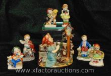 Occupied Japan Planter & (6) Child Figurines
