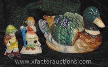 Occupied Japan Mallard Duck Planter & Pair of Child Figurines