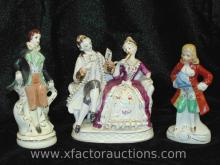 Victorian Couple and Pair of Colonial Male Figurines