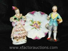 Pair of Colonial Style Figurines & UCAGCO China Plate